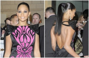 alesha-dixon-pointy-paded-shoulder-dress