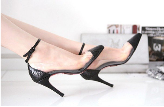 GRACE | Pointed Toe Black & Clear Side Pumps