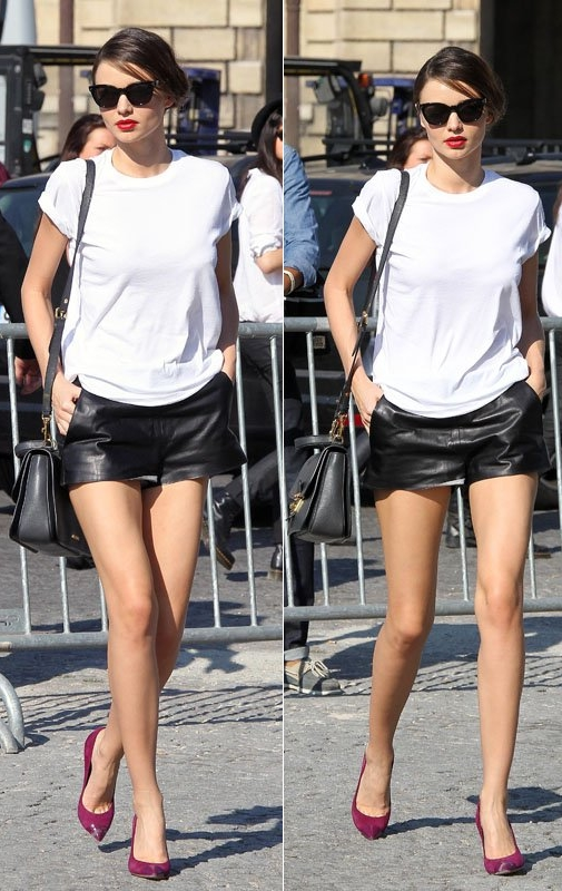miranda-kerr-paris-fashion-week-street-style-leather-skirt=white-tee