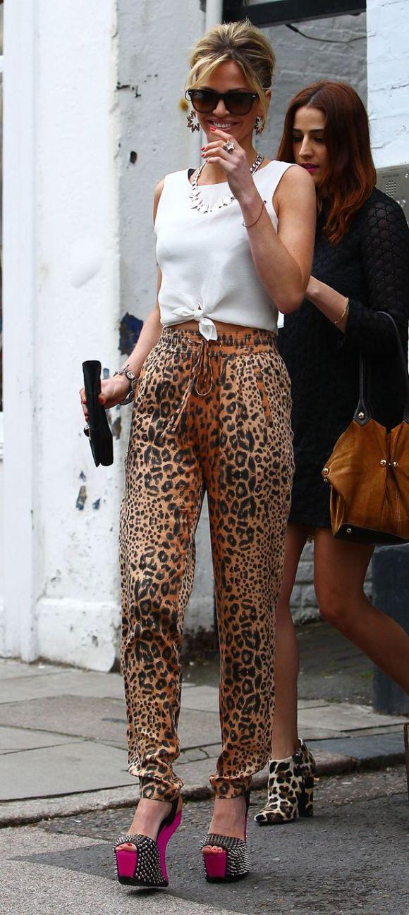 Sarah Harding leopard print trousers
