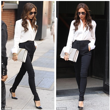victoria-beckham-white-blouse-pants-clutch